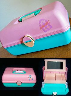 80's Caboodle for your make-up & accessories. Still had it my first teaching and used it for all my overhead stuff! Lol