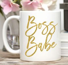 Boss Babe. Perfect for the boss in your life -- perhaps it's you! - Available in 11 or 15 oz. - Dishwasher and microwave safe - Design is placed on both sides of the mug