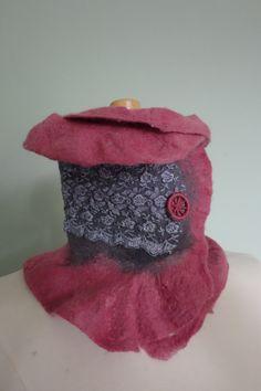 high felt collar neck wrap felt pink scarf ruffle by hipposinhats