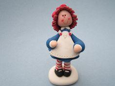 *RAGGEDY ANN Porcelana fria pasta francesa masa flexible fimo figurine pasta goma gum paste topper modelado