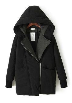 Black Padded Coat + Hood