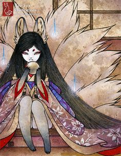 Ninetails Spirit Fox Girl Kitsune Japanese by TeaFoxIllustrations, $25.00