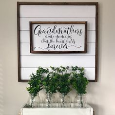 Gift for grandma. Mother's Day gift. Farmhouse wood sign. Shiplap sign. Wood caddy. Boxwood leaves