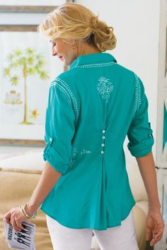 Petites Embroidered Shirt - Womens Soft Cotton Long Sleeve Shirt, Embroidered Blouse | Soft Surroundings