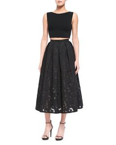 -5PCZ Michael Kors Sleeveless Knit Crop Top & Floral Fil Coupe Midi Skirt, Black ONLY $2,295 today!