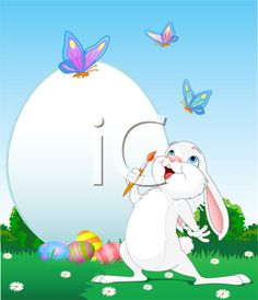 iCLIPART - Royalty Free Clip Art Image of a Bunny Painting an Easter Egg