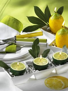 22 Modern Ideas for Table Decoration with Lemons and Yellow Green Color Combinations – DECOR FOR ALL Interior Styles, Home Decor Ideas, Decorating Themes Candle Centerpieces, Diy Candles, Centerpiece Ideas, Centrepieces, Kitchen Centerpiece, Citronella Candles, Simple Centerpieces, White Candles, Table Arrangements