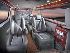 Interior of a Customized Mercedes-Benz Sprinter Van....sweeeet!