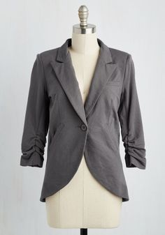 Fine and Sandy Blazer in Stone. No need to roll up your sleeves before the big meeting - this one-button blazer boasts ruched 3/4-length sleeves for a look that means chic and functional business. #grey #modcloth