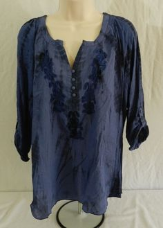 NWT Vintage America Twilight Blue Liliana Sheer Womens Top Blouse Shirt Size S #VintageAmerica #Blouse #Casual