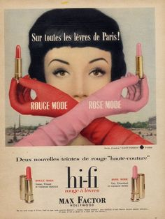 Retro Makeup 1958 Max Factor lipstick ad - Vintage advertising -- found in my mother's basement, flea markets and various corners of the Internet -- dusted off and displayed for your viewing pleasure. Vintage Makeup Ads, Retro Makeup, Vintage Ads, Vintage Posters, 1950s Makeup, Vintage Shoes, Vintage Paper, Vintage Glamour, Vintage Beauty