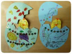 Easter Craft - a simple Easter card with a hinged egg that opens to reveal a chick inside