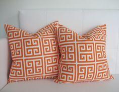 Throw Pillows - Accent Throw Pillow Covers - Decorative Orange Greek Key Throw Pillows - 20 x 20 Set of 2 Pillow Covers. $40.00, via Etsy.