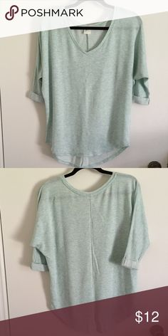 Cute 3/4 sleeves top! Mint green 1/2 sleeves top! Cute and comfortable! Only worn once! Loose fit! Tops Tees - Short Sleeve