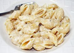 Garlic Butter Parmesan cheese sauce with pasta shells (will also add chicken) and use something other then butter(too much fat)