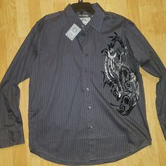 NWT Bruno New York Dress Shirt Dark grey pin striped with a rocker-y vibe. Black velvet and silver design on left side. NWT. Bruno New York  Other