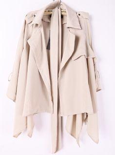 Beige Lapel Drawstring Waist Asymmetrical Trench Coat