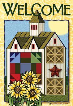 Jeremiah Junction Flag - Sunflower Barn Welcome Sunflowers Decorative Flag at Ga at GardenHouseFlags