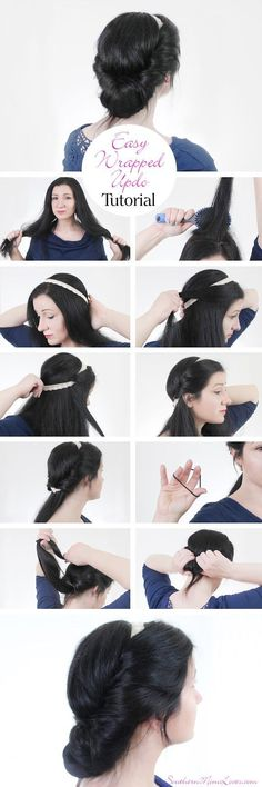 Southern Mom Loves: Easy Wrapped Updo Hair Tutorial + a DIY Lace Headband!