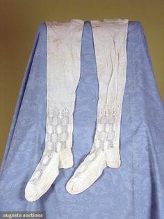 Lady's Fine Knit Stockings, France, 1800-1850, handwritten name at the top: Ann Hazelton, Augusta Auctions, November, 2007 -Tasha Tudor Historic Costume Collection, Lot 331