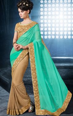 Picture of Fascinating Beige and Turquoise Indian Designer Saree