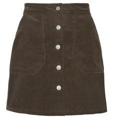 Khaki Corduroy Pocket Mini Skirt ($85) ❤ liked on Polyvore featuring skirts, mini skirts, bottoms, button up skirt, short khaki skirt, short skirts, corduroy mini skirt and khaki mini skirt