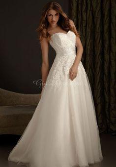 chapel train sleeveless tulle sweetheart princess applique wedding dress - Gindress.com