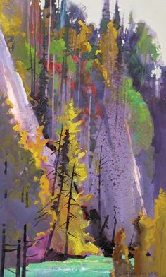 Canyon on the Little Susitna River, Alaska 2006, acrylic, 24 x 14, by Steven Quiller.