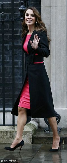 Queen Rania, pictured leaving No 10, will next attend a conference in London next month to...