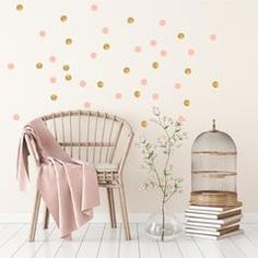 Dotty wall transfers in Rose pink and gold