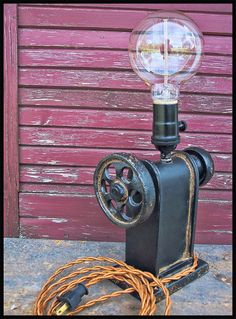 Industrial Iron Gear Lamp  Steampunk Lamp  Steampunk by Timberson, $125.00