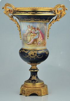 """Fine 19th century bronze mounted Sevres porcelain urn with scenic and figural decoration, signed """"Collinet"""", 22"""" high"""