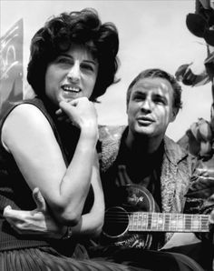 Anna Magnani and Marlon Brando on the set of The Fugitive Kind, 1960, directed by Sidney Lumet.