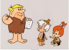 The Flintstones Barney Rubble, Pebbles, and Bamm-Bamm Production Cel Setup (Hanna-Barbera, 1963-64)
