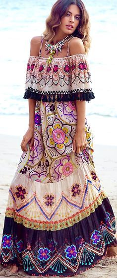 Sexy off the shoulder maxi dress with ethnic inspired tribal necklace for the new modern hippie allure. For the best BOHEMIAN fashion style FOLLOW https://www.pinterest.com/happygolicky/the-best-boho-chic-fashion-bohemian-jewelry-gypsy-/ now.