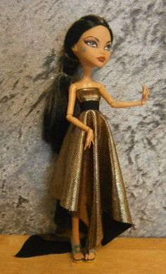 Gold dress for monster high and ever after high by moonsight68, $10.00