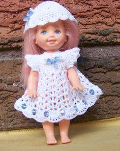 Barbie s Kelly 4 1/2  Doll White Dress & Hat with Blue Swarovski Crystals