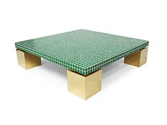 Vintage 1970's Italian green tile & brass coffee table.
