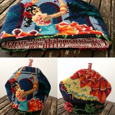 Tea cosy made from vintage needlepoints.