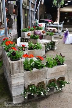 Cinder block bench planter