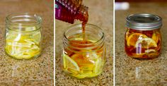 """Winter sore throat """"tea""""- In a jar combine lemon slices, organic honey and sliced ginger. Close jar and put it in the fridge, it will form into a """"jelly"""". To serve- spoon jelly into mug and pour boiling water over it. Store in fridge months. Home remedies Herbal Remedies, Health Remedies, Home Remedies, Natural Remedies, Flu Remedies, Anxiety Remedies, Natural Treatments, Sore Throat Tea, Itchy Throat And Cough"""