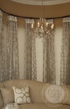 Another rounded rod. (Design/motif N/A) Appropriate treatment can be used with or without etched/privacy window film. Corner Window Treatments, Custom Window Treatments, Window Coverings, Drapery Panels, Drapes Curtains, Valances, Sheer Drapes, Burlap Curtains, Draping