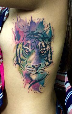 Tiger watercolor tattoo by Juan David Castro R Pisces Tattoos, Wolf Tattoos, Leg Tattoos, Body Art Tattoos, Sleeve Tattoos, Tatoos, Tiger Tattoo Small, Mens Tiger Tattoo, Tiger Tattoo Design
