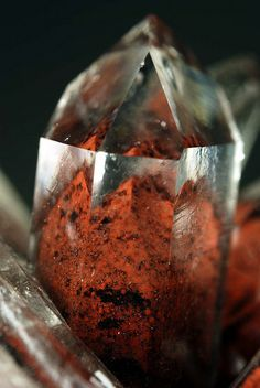 Red Phantom Quartz    Quartz crystal with iron oxide inclusions.  Locality:Iron Blow, Mt. Lyell, Tasmania, Australia.