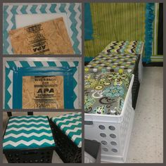 Your Life: Embellished: Easy DIY Crate Seats, classroom decor, teal/lime classroom, reading area, classroom storage solution.These would be adorable for kids to sit on in the nurse's office? Classroom Reading Area, Classroom Setting, Classroom Setup, Classroom Design, Kindergarten Classroom, School Classroom, Classroom Organization, Reading Areas, Classroom Management