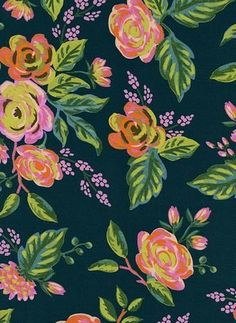 Rifle Paper Co. Menagerie Rayon Jardin de Paris Navy Dress Fabric Pink Floral Rayon Material Cotton + Steel Fabrics Fashion Anna Bond Rifle Paper Fabric