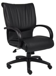 Boss Office Products B9706 Boss Mid Back Black Leatherplus Executive Chair