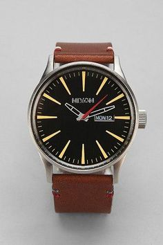 Nixon Sentry Leather Watch $150.00 - Buy it here: https://www.lookmazing.com/nixon-sentry-leather-watch/products/5279498