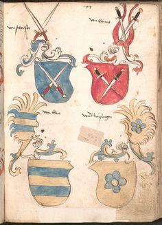 Wernigeroder (Schaffhausensches) Wappenbuch Süddeutschland, 4. Viertel 15. Jh. Cod.icon. 308 n  Folio 194r
