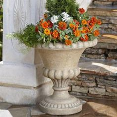 18-1/4 in. x 18.25 in. Cast Stone Bulbous Urn in Travertine, PS6703TRT at The Home Depot - Tablet